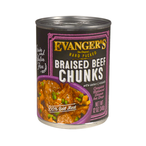 Evanger's Evanger's Grain Free Hand Packed Braised Beef Chunks with Gravy Dog Can 13oz Product Image