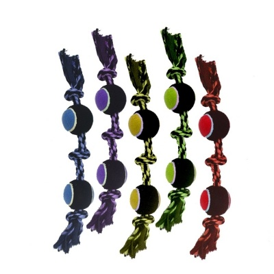 """MULTIPET INTERNATIONAL INC Multipet Dog Toy Nuts For Knots 3-Knot Tug with Tennis Ball 15"""" Product Image"""
