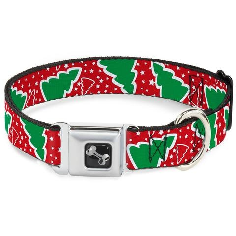 Buckle Down Buckle Down Christmas Tree and Stars Red Collar Medium Product Image