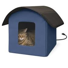 K & H K&H Creative Solutions Cat Outdoor Heated House Navy Blue 22X19X17 20W Product Image