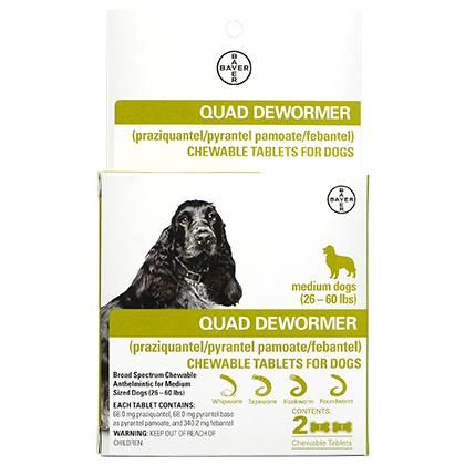 Bayer Healthcare QUAD Dewormer Medium Dog 2pk 26-60lb Product Image