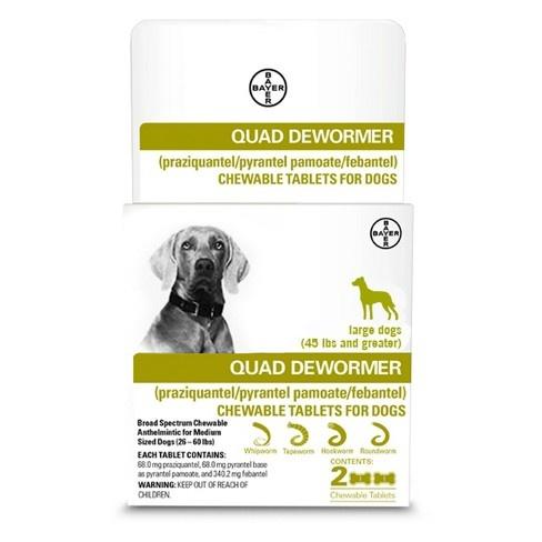 Bayer Healthcare QUAD Dewormer Large Dog 2pk 45+lbs Product Image