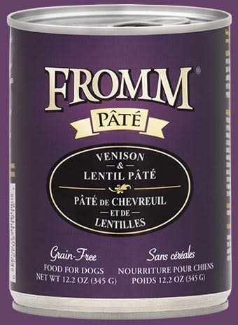 Fromm Fromm Grain Free Venison & Lentil Pate' Dog Can 12.2 oz Product Image
