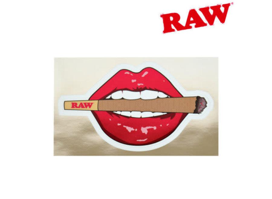 Raw lips and lit sticker
