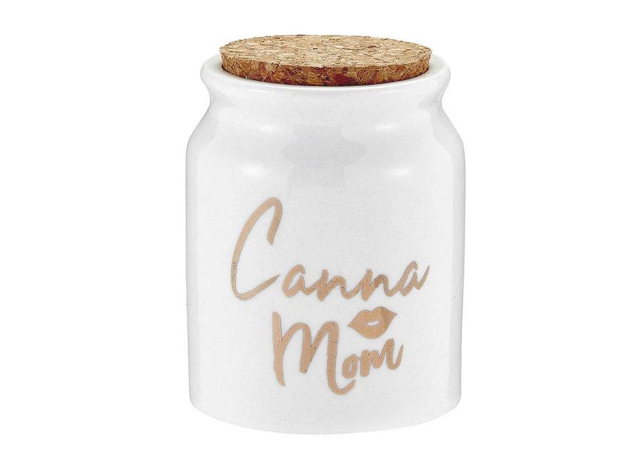 Canna Mom Ceramic Stash Jar White