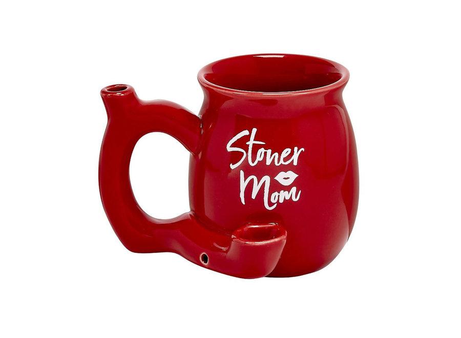 Ceramic Stoner Mom Mug Pipe - Red
