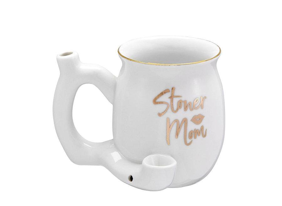 Ceramic Stoner Mom Mug Pipe - White