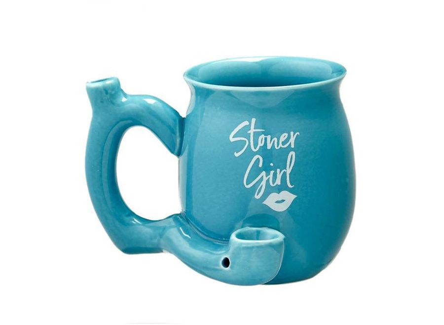 Ceramic Stoner Girl Mug Pipe - Blue