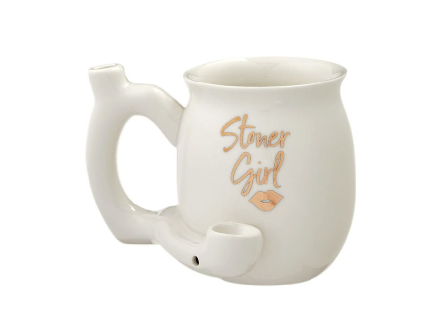 Ceramic Stoner Girl Mug Pipe - White