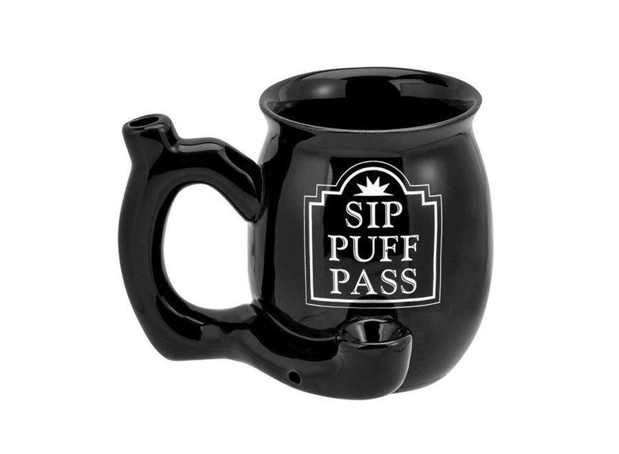 Ceramic Sip Puff Pass Mug Pipe - Black