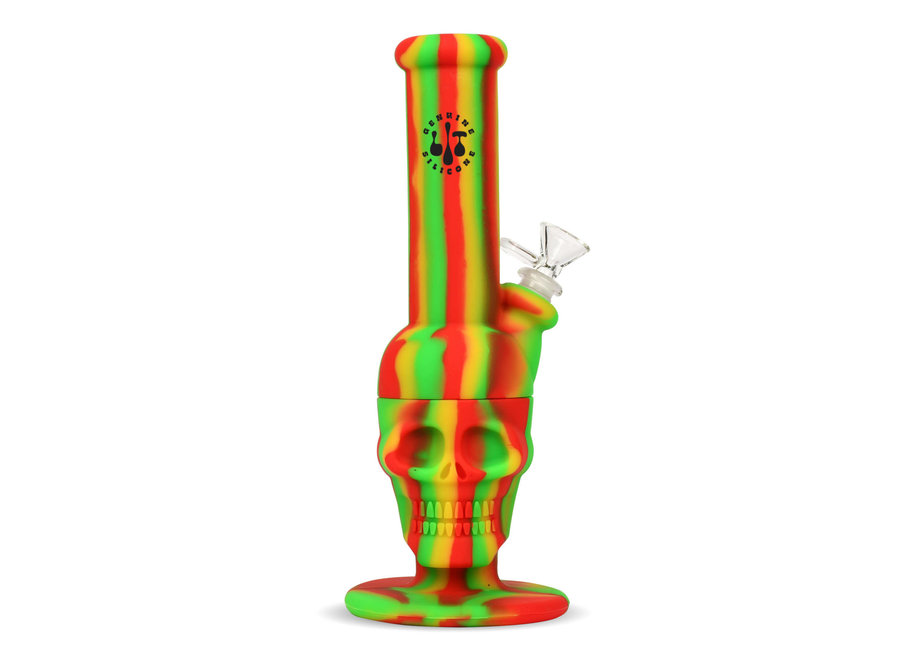 """LIT Silicone 11"""" Skull Water Pipe"""