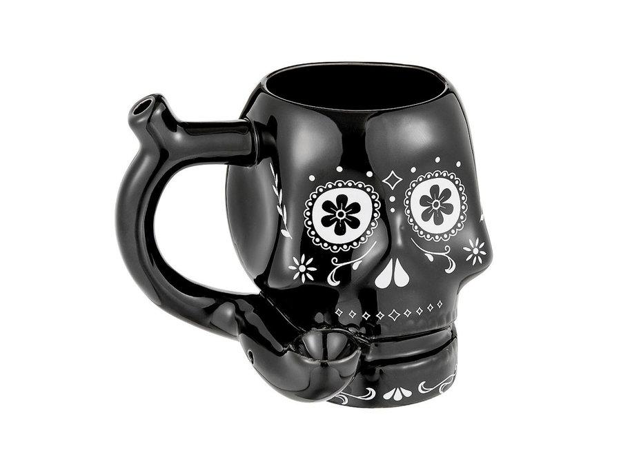 Ceramic Sugar Skull Mug Pipe - Black