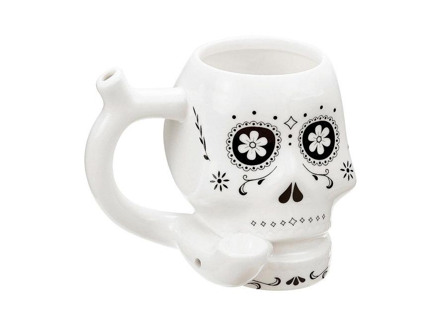 Ceramic Sugar Skull Mug Pipe - White