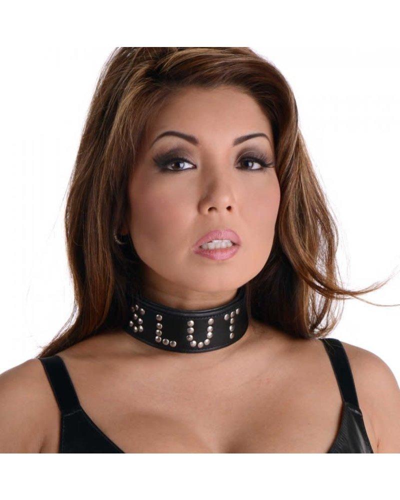 Studded Leather Slut Collar