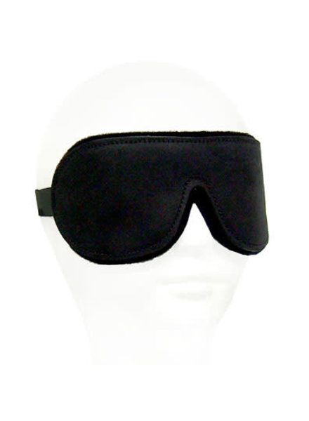 Black Leather Blindfold - Neoprene Lining