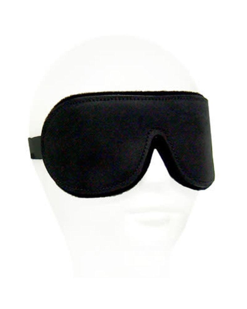 Black Leather Blindfold - Neoprene Lining
