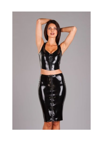 Latex top with a zipper up front
