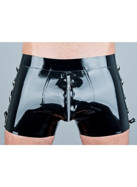 Latex shorts with decorative lacing
