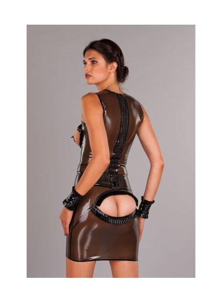 latex skirt with back peep hole Smoke