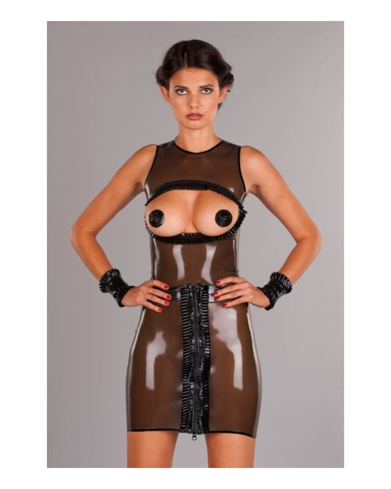 Peter Domenie latex skirt with back peep hole Smoke