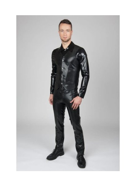 Slim fitting Latex pants with Houndstooth pattern.