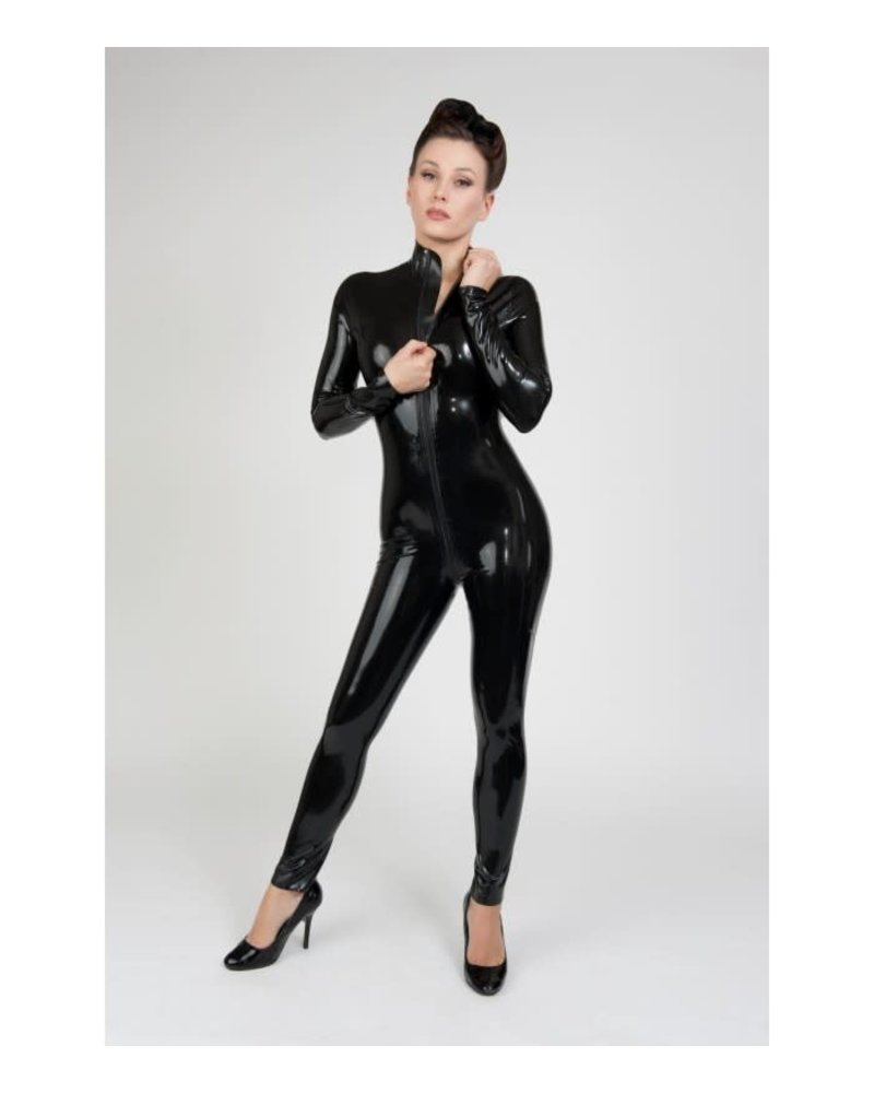 Black Latex Long sleeved catsuit