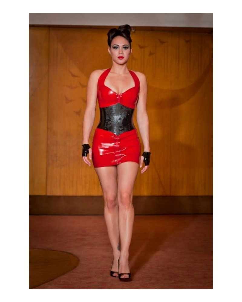 Red Halter dress with Front zipper
