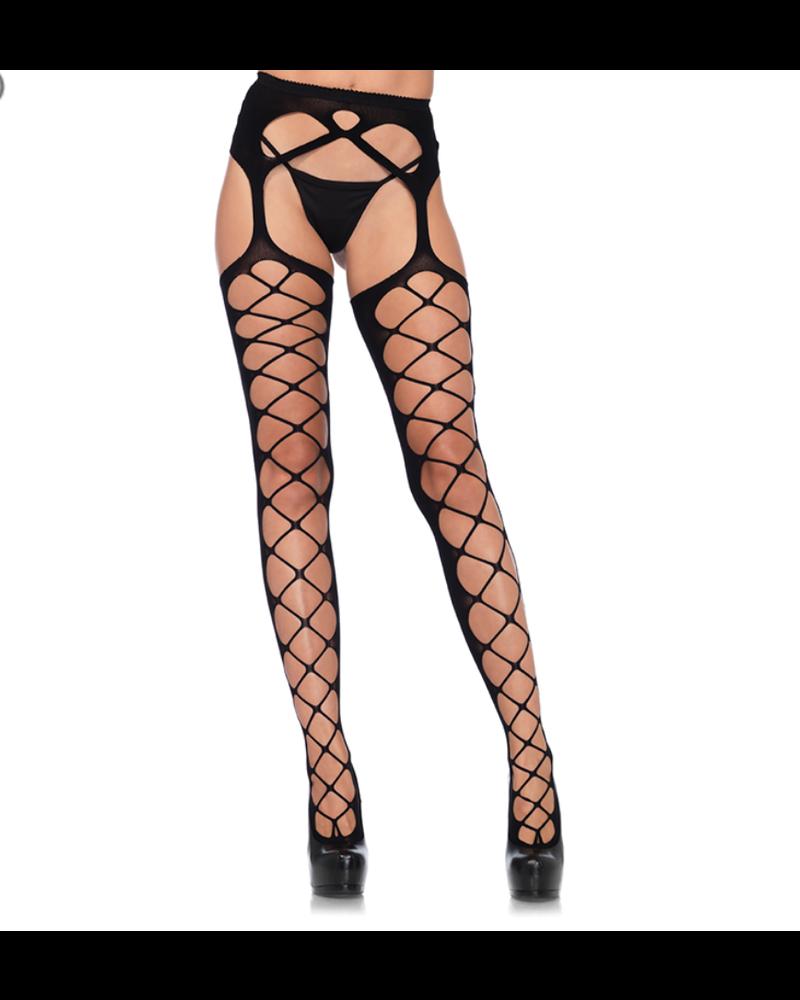 Diamond Net Opaque Stockings With Attached Garter Belt