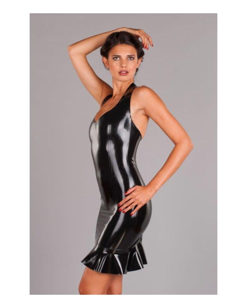 Black Halter dress with frilled hem