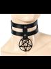 Pentagram double strap choker
