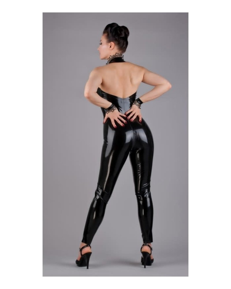 Latex sleeveless catsuit with latex lace on the neckband.