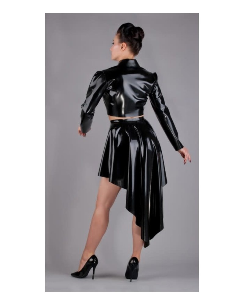 Cropped latex jacket