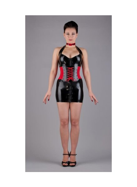 Black and red laced corset