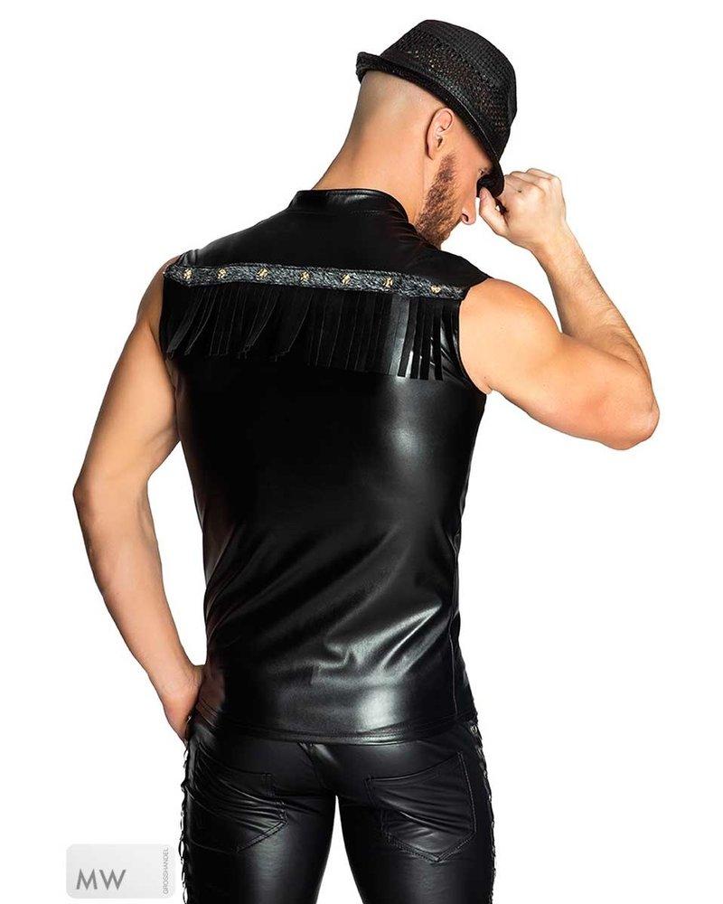 Noir Handmade Vest with Fringes