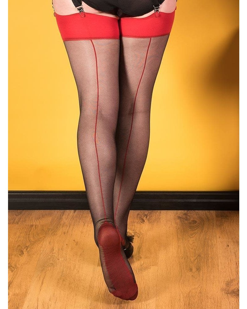 Whatkatiedid Seamed Stockings Glamour Black/Red