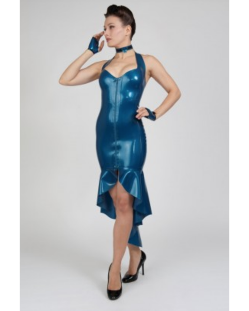Peter Domenie Asymmetrical Dress with front zip M.Blue