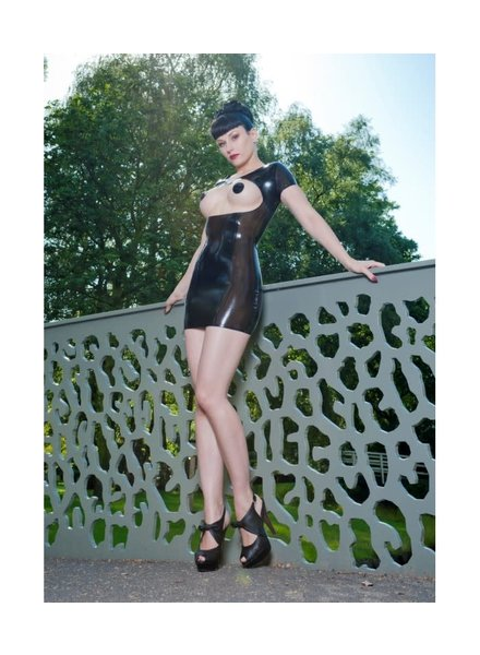 Peter Domenie Open front latex dress