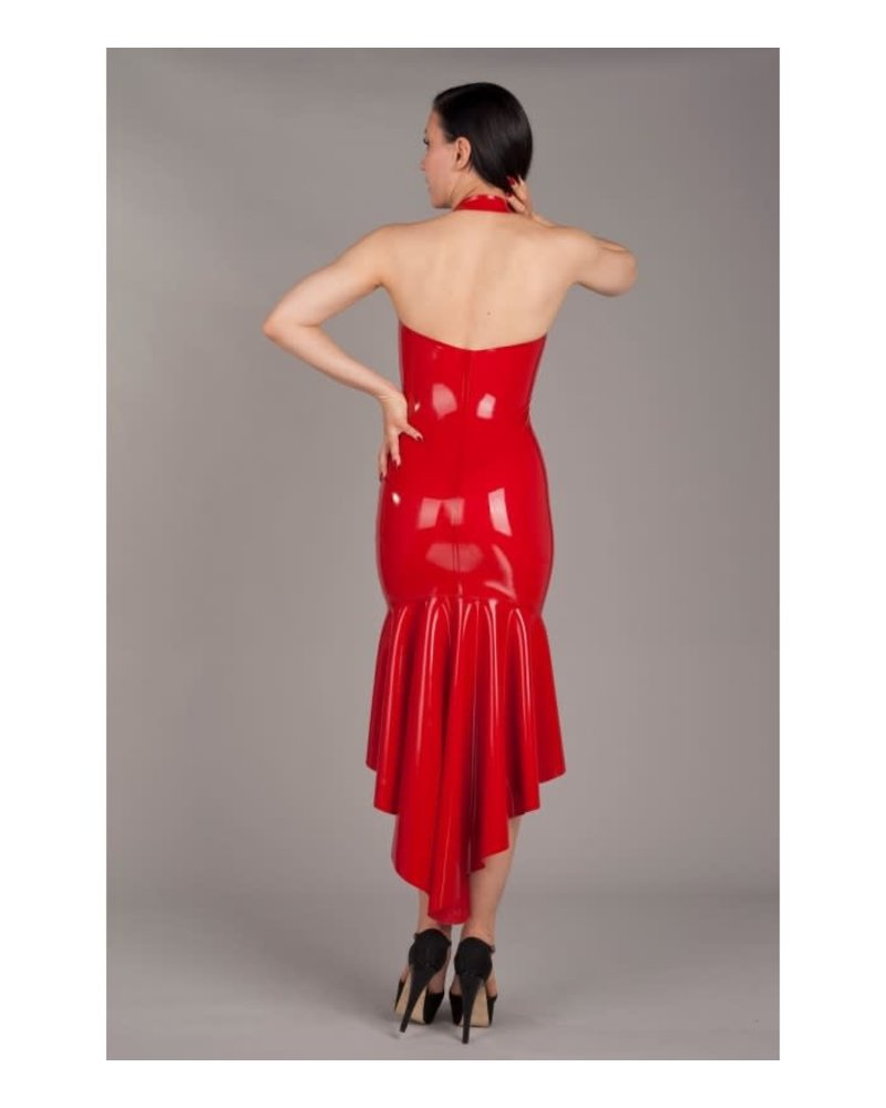 Peter Domenie Asymmetrical Dress with front zip Red