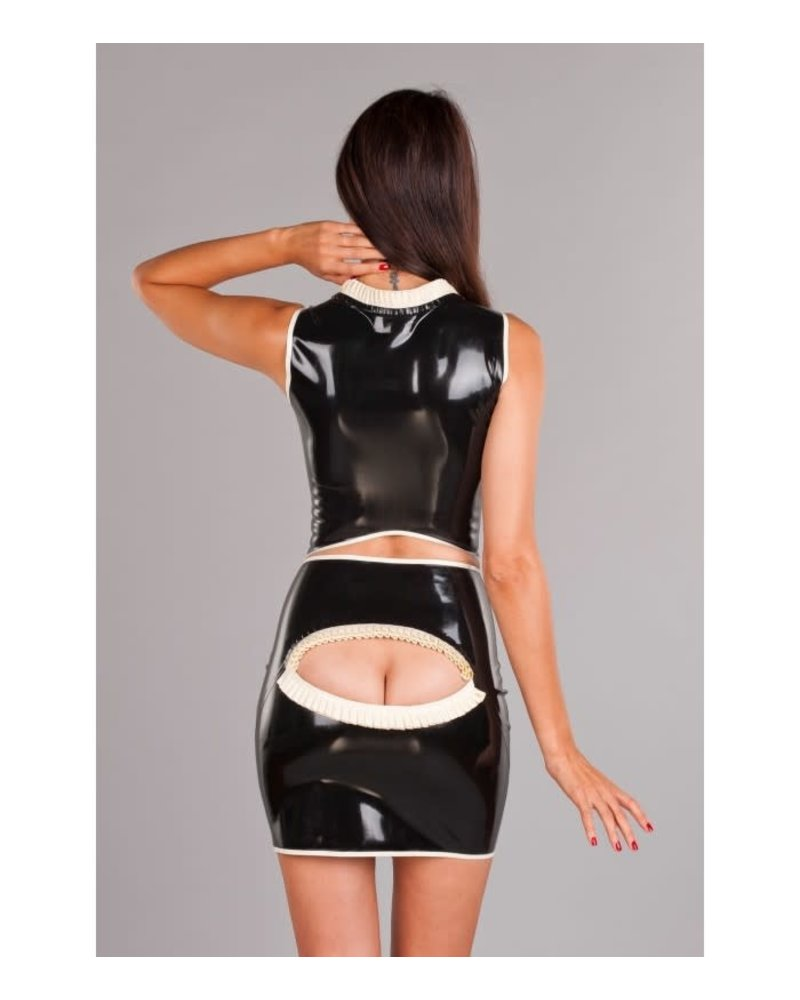 Peter Domenie Latex skirt with back peep hole Black/White