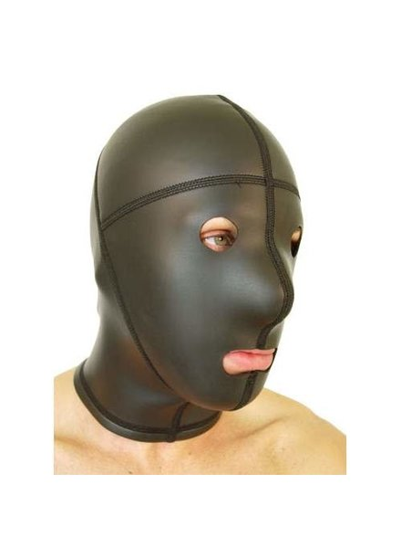 665 Leather Neoprene Panel Hood Open Eyes and Mouth
