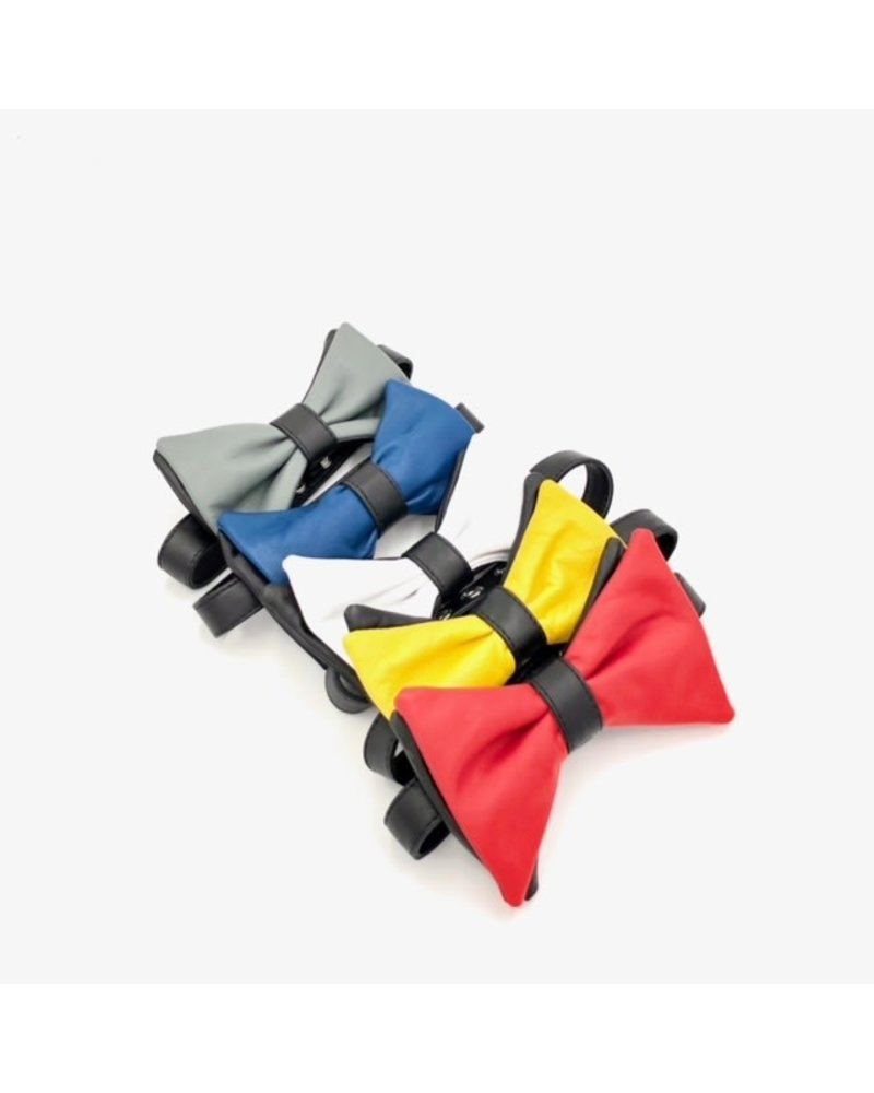 Fisted Leather Double Bow Tie