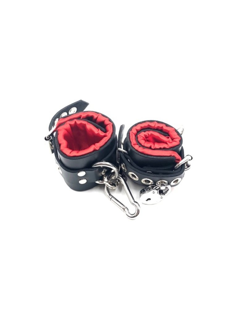 Axovus LLC Locking Satin Lined Leather Bondage Cuffs