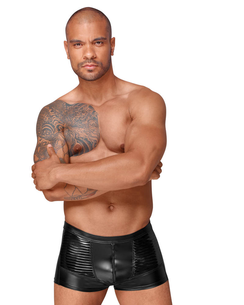 Shorts with PVC/zipper front