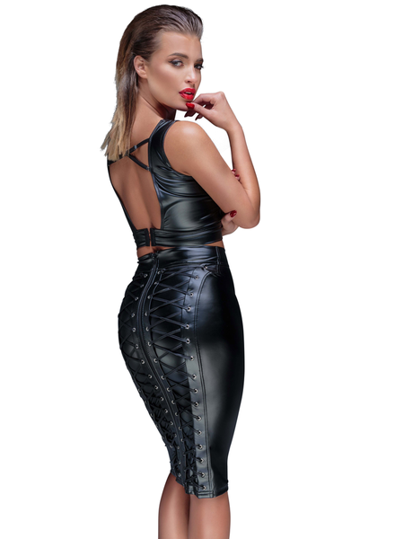 Noir Handmade Pencil skirt with long zipper and ties
