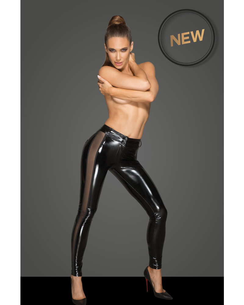Noir Handmade PVC leggings with Sheer sides