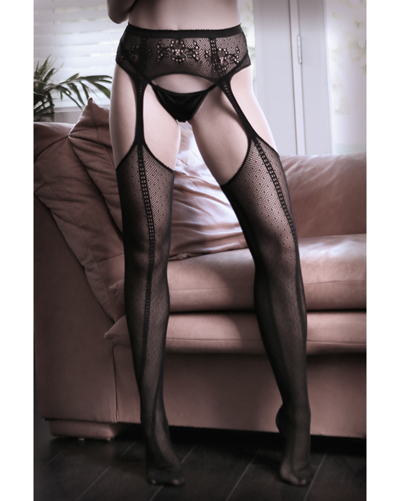 fantasy lingerie Dim the Lights Net Garter Belt Stockings
