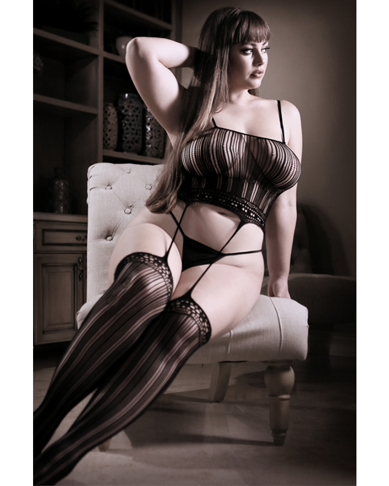 fantasy lingerie Black Magic Cami Top with Attached Stockings