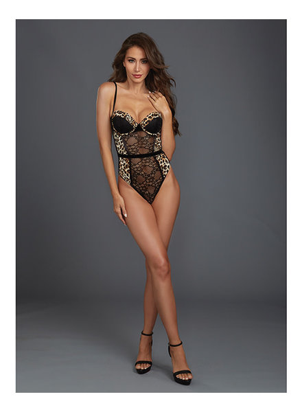 Lace & Mesh Teddy w/Cheetah Print