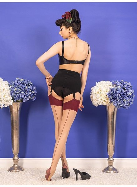 Whatkatiedid Seamed Stockings Claret Glamour