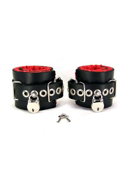 Axovus LLC Locking Satin Lined Leather Ankle Bondage Cuffs